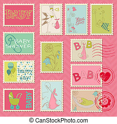 Baby Girl Postage Stamps - for scrapbook, invitation, congratulation