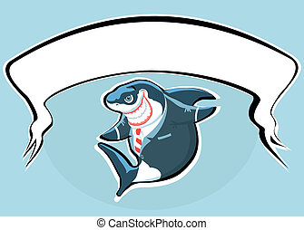 Cartoon smiling shark in the suit w