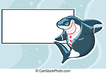Cartoon shark in the suit with copy space