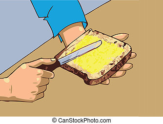 Man applying butter on bread