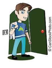 Teenager entering a room