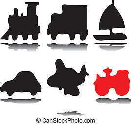 Silhouettes of vehicles