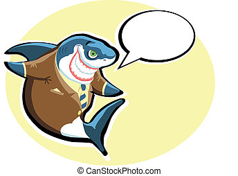 Cartoon shark in the suit with spee