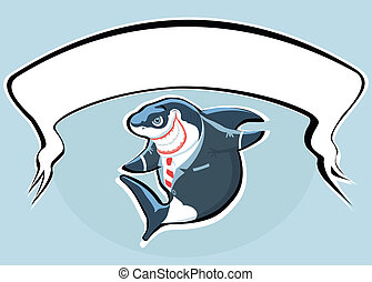 Cartoon smiling shark in the suit with copy space