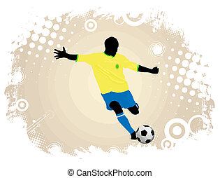 Soccer action player on grunge poster background, vector...