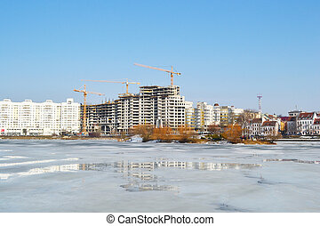 View of Minsk in early spring, Belarus