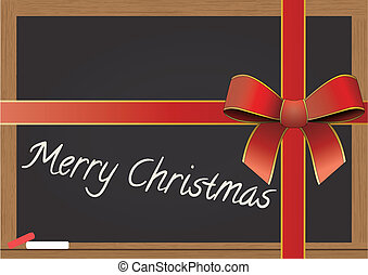 chalkboard with tied ribbon