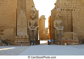 Statues of Ramses II and Obelisk in Luxor Temple - The...