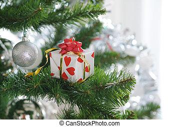 gift on christmas tree