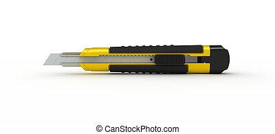 3D Box-Cutter - 3D Yellow Utility Knife Isolated on White...