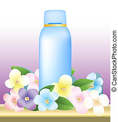 bottle of cosmetic products