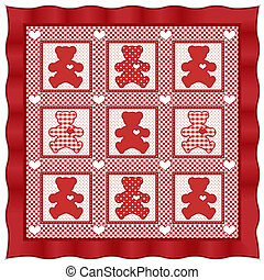 Teddy Bear Quilt - Old fashioned baby quilt pattern, teddy...