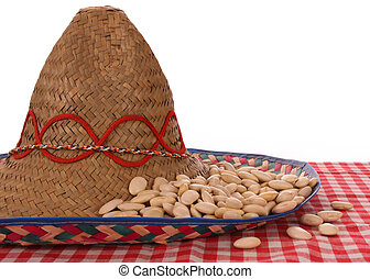 MEXICAN FOOD - WHITE BEANS IN A SOMBRERO IN A STUDIO SETTING