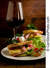 Toast with cheese and ham - photo of delicious toast stuffed...