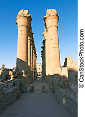 Colonnade of the Luxor temple in Egypt at dawn