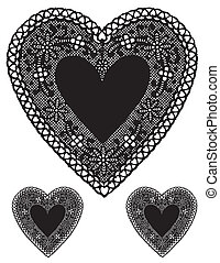 Antique Black Lace Heart Doilies - Vintage heart shaped...