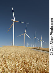 Power Generating Windmills - White power generating wind...