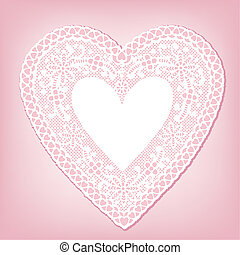 Antique White Lace Heart Doily - Vintage heart shaped white...