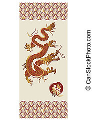 Chinese dragon in red - golden and red dragon silhouette...