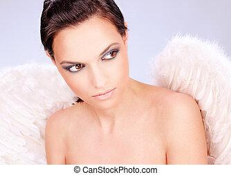 mulher, bonito, anjo, asas