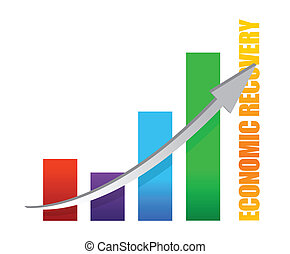 economy recovery chart arrow illustration design on white