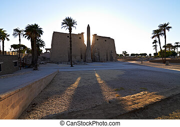 Entrance to Luxor Temple with Statues of Ramses II and Obelisk