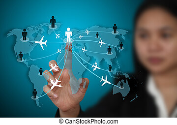 business travel transport concept - businesswoman touch on...
