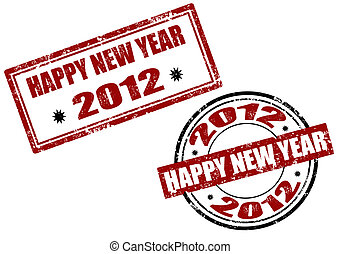 Set of 2012 new year stamp
