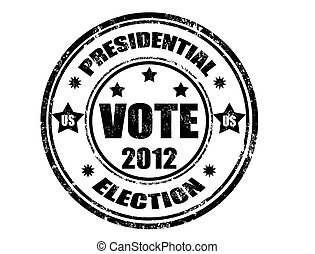Presidential election 2012 - grunge rubber stamp with word...