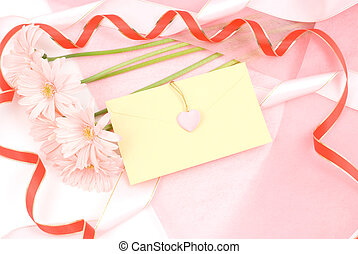 Flower and letter - Pink african daisy bouquet and letter on...