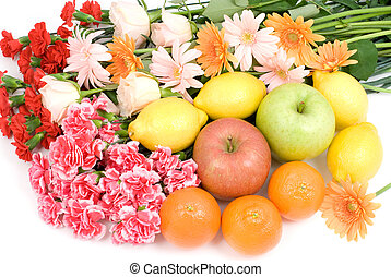 Bouquet and fruits - Various flower bouquet and fruits on a...