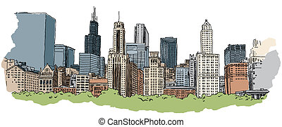 Chicago Skyline - Illustration of a portion of the Chicago...