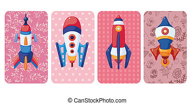 cartoon spaceship card