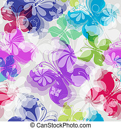 Seamless floral pattern with butterflies - Seamless floral...