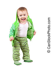 Happy toddler over white background - Happy toddler standing...