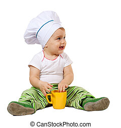Baby cook white background