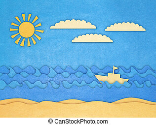 applique of boat and sea with wawes clouds and sun