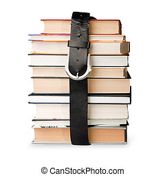 books pile with belt - many books pile with black leather...