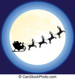 santa claus and deers flying in front of the moon - vector...