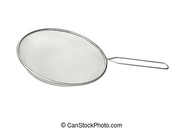 Stainless steel colander isolated on white background