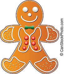 gingerbread cookie man - vector illustration of gingerbread...