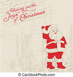 Christmas Card with Vintage Santa- for invitation, greetings, scrapbook
