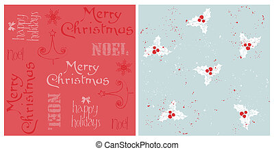Vintage Christmas Seamless Backgrounds - for design and scrapbook in vector