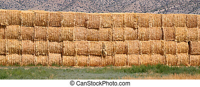 Hay Bale Background - Bales of hay piled high in the...