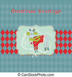 Christmas Card with Funny Rudolf- for invitation, greetings, scrapbook