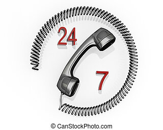 Contact Us 24/7 - A phone receiver with its cord in a circle...