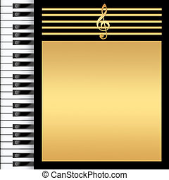 Piano Keyboard Black and gold Background