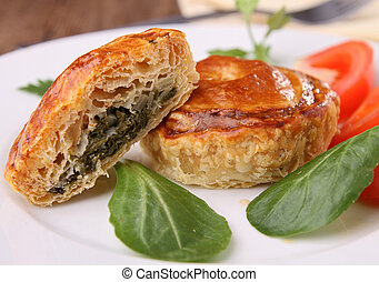 spinach baked puff - baked puff with spinach