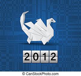 Vector origami dragon 2012