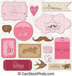 romanticos, casório, etiquetas, desenho, elementos,...